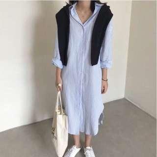 東大門連線 細條紋長版襯衫洋裝 create.me 青豆