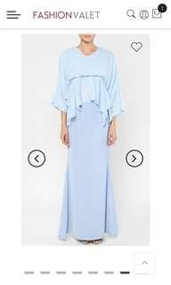 Jezebel Textured Batwing Flared Sleeves in Light Blue