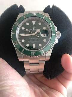 Rolex Submarina 116610LV in very good condition with warrantee card no