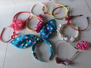 Headbands for kids girls  assorted..polka dot ribbons bows pink cute pretty sweet hairbands