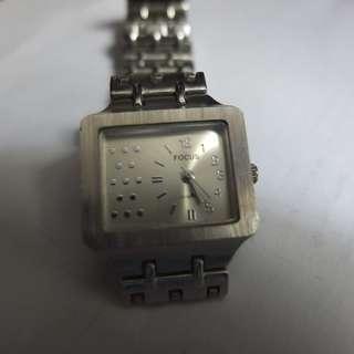 Focus Quartz Small Silver Rectangular Watch