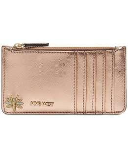 Ready stock: Nine West Elongated Metallic gold silver card case