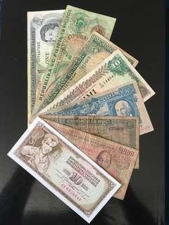8 old banknotes from 7 countries