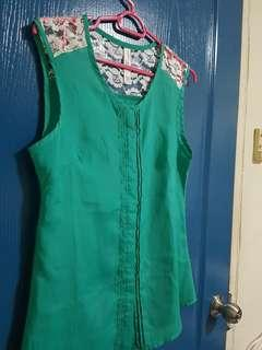 Green laces Sleeveless Blouse