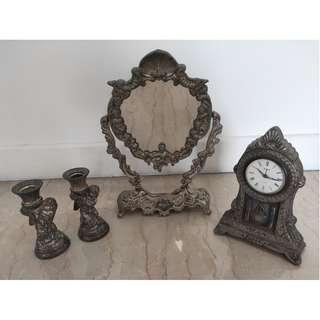 Old Vintage Antique Mirror, Clock & Candle Stands