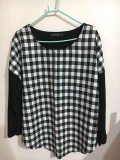 🚚 Queen shop黑白格子上衣(附實穿照)#半價衣服市集