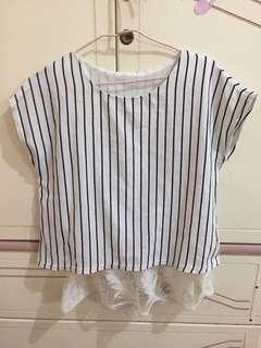 韓國🇰🇷條紋羽毛上衣 #半價衣服市集