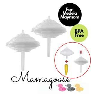 Backflow Protector, Long Stem to use Medela Maymom Flange Breastshield for Spectra breast pump by Maymom