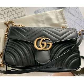 Authentic Gucci GG Marmont Matelassé Small Shoulder Bag Black