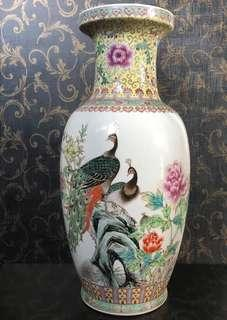 Famille Rose Peacock Vase