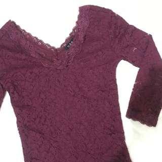Burgundy Lace Long Sleeve
