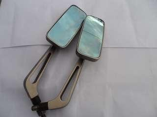 🚚 二手 機車改裝 後視鏡 日式 方鏡 藍鏡 照後鏡 方後視鏡 全金屬