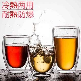 🚚 350/450ml透明雙層隔熱茶杯耐熱玻璃咖啡杯/咖啡奶泡杯/果汁杯/冰淇淋杯/家用花茶杯辦公杯防燙隔熱杯