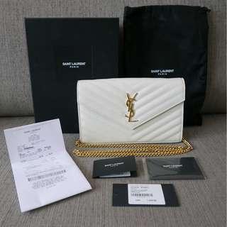 Authentic YSL Yves Saint Laurent Monogram Chain Wallet Grain Matelasse White