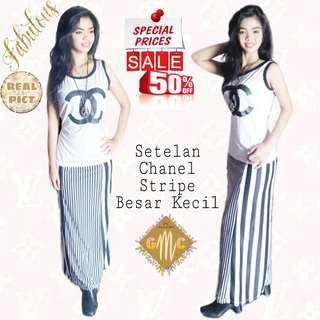 Setelan Chanel Stripe Stelan rok garis kombinasi kecil besar set 273 REAL PICT