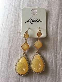 Yellow teardrop earring