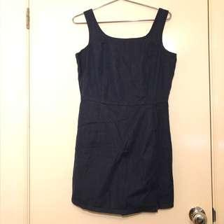 (M) Denim skort playsuit/romper