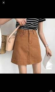 Korean high waist brown skirt