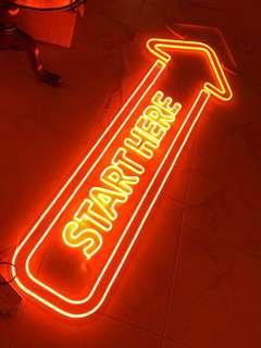 """Start Here"" Neon Light Signboard"