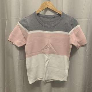 (NEW) Knitted Pink Grey Top