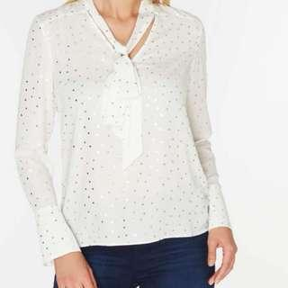 Dorothy Perkins Silver Spot Top In Ivory