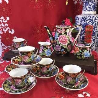 Black Ground Mild Fleur Coffee Set