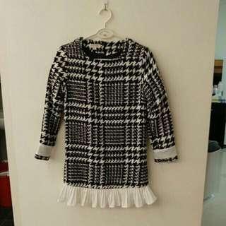千鳥格毛呢厚實洋裝。#半價衣服市集
