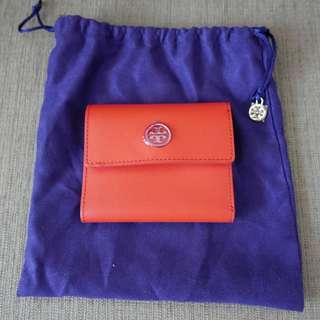 Authentic Tory Burch Robinson French Tri-fold Wallet Poppy Red Gold