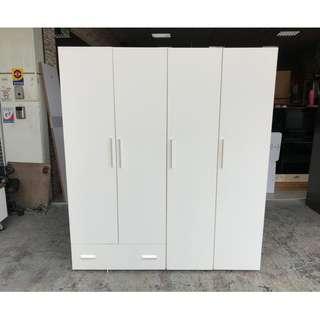 香榭二手家具*簡約時尚白色 5.4尺四門衣櫃(含鏡子)-衣櫥-男櫃-吊衣櫃-收納櫃-掛衣櫃-儲藏櫃-置物櫃-台中家具回收