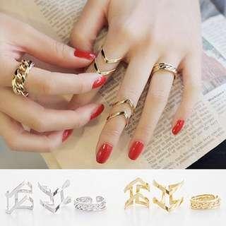 Triple korean fashion rings jewelry
