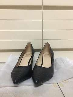 黑色軟皮高跟鞋 Women black soft leather high heel shoes