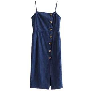 semi jeans slit dress