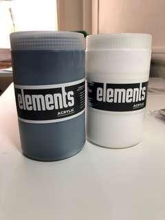 Elements Acrylic Paint (1 litre each) Black and White