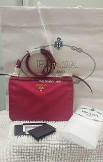[PAYDAY SALE] Prada Bandolier Double Zipper Nylon Crossbody Bag in Pink