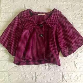 Pink checkered Boxy Crop Top