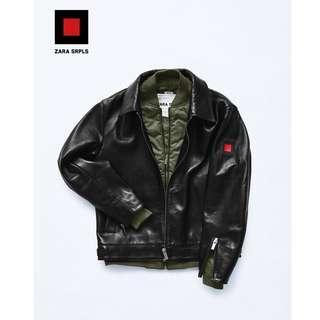 Zara真皮外套 飛行員外套 皮衣 皮夾克 100%leather黑色 騎士外套 皮外套黑色 軍事 迷彩SRPLS
