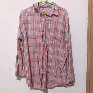 🚚 粉紅格紋襯衫 #半價衣服市集