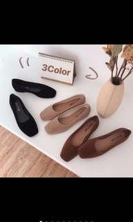 小方頭絨面平底鞋#黑