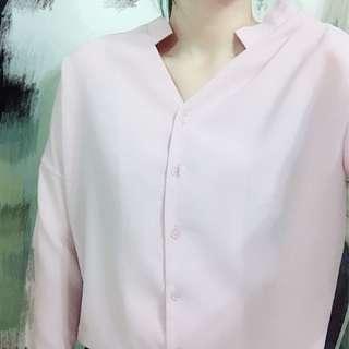 🚚 雪紡粉色上衣長袖襯衫 #半價衣服市集