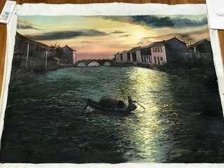 Chinese oil painting - sunset (without frame)
