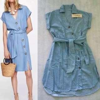 Denim Button Denim Dress