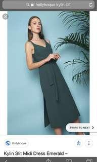 🚚 Kylin slit midi dress (emerald/white)