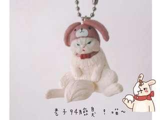 Buneko BANDAI 趣味帽子貓 頭套貓 兔耳貓🐰 臭臉貓 扭蛋 轉蛋 / 單售 - 粉紅帽臭臉王🤣