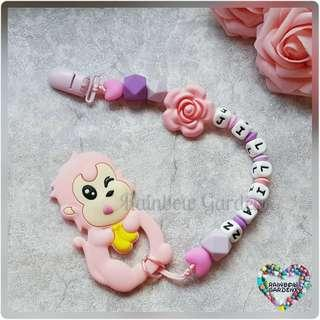 Handmade Customized Pacifier Clip with letter silicone beads + Pink Monkey teether