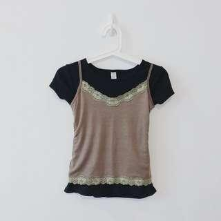 🚚 Olive Green Lacey Cami Spag Crop Top