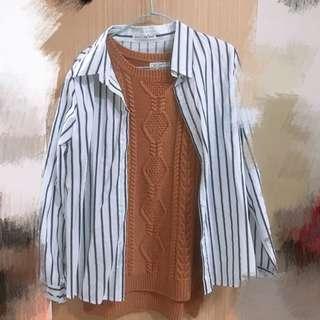 🚚 條紋韓版長袖襯衫 #半價衣服市集