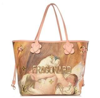 ORIGINAL LOUIS VUITTON NEVERFULL JEFF KOONS FRAGONARD LIMITED EDITION BAG and POUCH