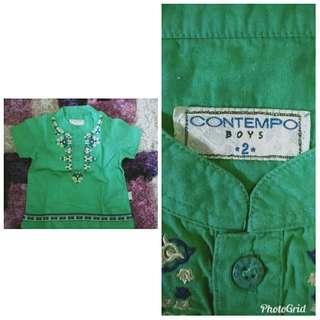Contempo Boys BAju koko hijau bordir