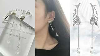 EAGLE WING CRAWL DANGLING EARRINGS (PAIR)