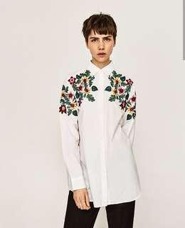 Zara Embroidered Button Down